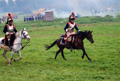 Borodino battle historical reenactment in Russia. BORODINO, MOSCOW REGION - SEPTEMBER 04, 2016: Reenactors dressed as Napoleonic war soldiers - cuirassiers Royalty Free Stock Photography