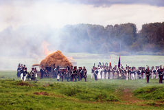 Borodino battle historical reenactment scene. Burning house Royalty Free Stock Images
