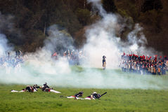 Borodino battle historical reenactment scene. Fume on the battlefield Stock Photos