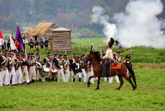 Borodino battle historical reenactment scene Stock Images