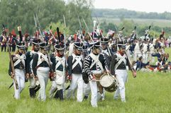 Borodino battle. Soldiers marching out Royalty Free Stock Images