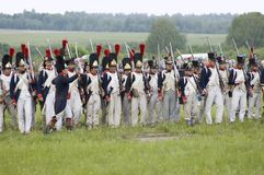 Borodino battle. Soldiers in row Royalty Free Stock Photography