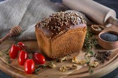 Borodino bread on wooden board Stock Image