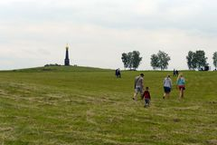 Borodino Field. A view of the main monument to Russian soldiers, heroes of the Battle of Borodino, on the Rayevsky battery. Royalty Free Stock Photos