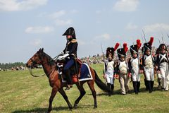 BORODINO, MOSCOW REGION - may 29, 2016: Reenactors dressed as Napoleonic war soldiers at Borodino battle historical reenactment in. Russia. Monument Of Royalty Free Stock Photos
