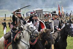 Borodino battle historical reenactment in Russia. Russian army soldiers Royalty Free Stock Photography