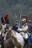 Borodino battle historical reenactment in Russia. Battle scene Stock Photography