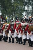 Army soldiers at Borodino battle historical reenactment in Russia royalty free stock images