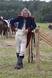 French army soldier at Borodino battle historical reenactment in Russia stock photography