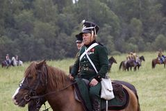 Russian army soldier at Borodino battle historical reenactment in Russia stock photos