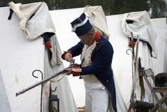 Reenactor man at Borodino battle historical reenactment in Russia Stock Photos