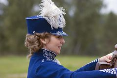 Reenactor woman at Borodino battle historical reenactment in Russia Stock Photos