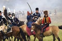 Army soldier woman and men at Borodino battle historical reenactment in Russia Stock Image