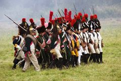 Army soldiers at Borodino battle historical reenactment in Russia royalty free stock photo