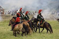 Borodino battle historical reenactment in Russia royalty free stock images