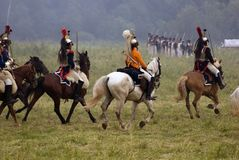 Cuirassiers at Borodino battle historical reenactment in Russia stock photography