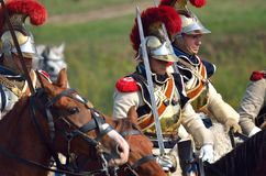 BORODINO, MOSCOW REGION - SEPTEMBER 02, 2018: Reenactors dressed as Napoleonic war soldiers at Borodino battle Stock Images