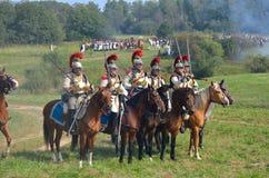 BORODINO, MOSCOW REGION - SEPTEMBER 02, 2018: Reenactors dressed as Napoleonic war soldiers at Borodino battle Royalty Free Stock Photos