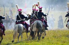 BORODINO, MOSCOW REGION - SEPTEMBER 02, 2018: Reenactors dressed as Napoleonic war soldiers at Borodino battle Royalty Free Stock Images