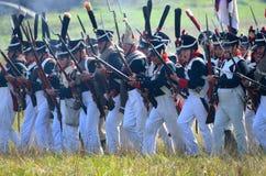 BORODINO, MOSCOW REGION - SEPTEMBER 02, 2018: Reenactors dressed as Napoleonic war soldiers at Borodino battle Royalty Free Stock Photography