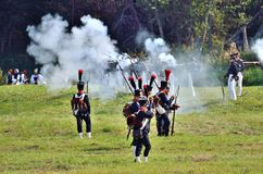 BORODINO, MOSCOW REGION - SEPTEMBER 02, 2018: Reenactors dressed as Napoleonic war soldiers at Borodino battle Stock Image