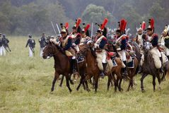 Army soldiers cuirassiers at Borodino battle historical reenactment in Russia Royalty Free Stock Images