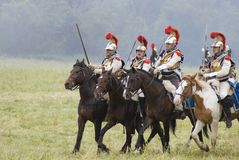 Army soldiers cuirassiers at Borodino battle historical reenactment in Russia Stock Photo