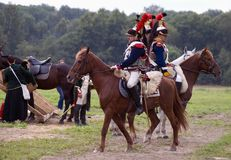 Army soldiers cuirassiers at Borodino battle historical reenactment in Russia Royalty Free Stock Photos