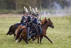 Russian army soldiers at Borodino battle historical reenactment in Russia Stock Photos
