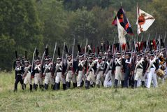 Russian army soldiers at Borodino battle historical reenactment in Russia stock photo