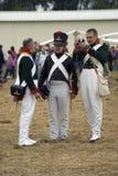 Reenactors men at Borodino battle historical reenactment in Russia Royalty Free Stock Photography
