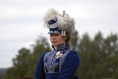 A woman at Borodino battle historical reenactment in Russia stock image