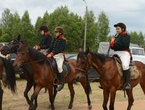 Russian cavalry in the Borodino field. Stock Images