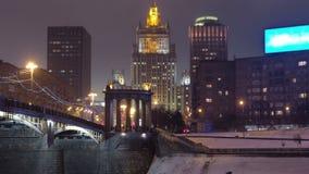 Borodinsky-Brücke über dem Moskva-Fluss timelapse stock video footage