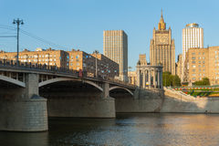 Borodinsky Bridge, Ministry of Foreign Affairs of Russian Federa Stock Photo