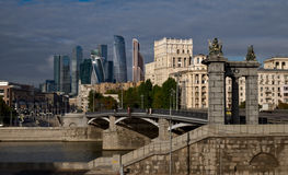 Borodinsky Bridge and Moscow International Business Center Stock Images