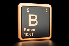 Boron B chemical element. 3D rendering. Boron B, chemical element. 3D rendering isolated on black background Royalty Free Stock Images