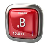Boron B chemical element from the periodic table red icon. 3d illustration on white background Stock Photos