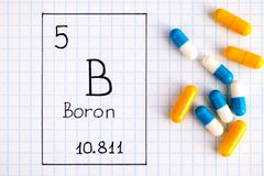 Boron B för kemisk beståndsdel för handskrift med piller royaltyfria bilder