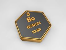 Boron - Bo - chemical element periodic table hexagonal shape Royalty Free Stock Photo