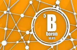 Boron chemical element. Sign with atomic number and atomic weight. Chemical element of periodic table. Molecule And Communication Background. Connected lines Stock Photo