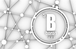 Boron chemical element. Sign with atomic number and atomic weight. Chemical element of periodic table. Molecule And Communication Background. Connected lines Royalty Free Stock Photography