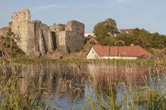 Borotin castle ruins with blue lake Stock Images