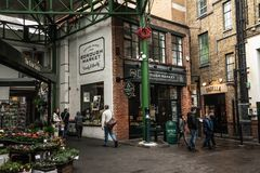 Borough market in central London outdoor shopping. royalty free stock photography