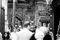 Borough Market. Many people walk the streets through the Borough market in central London royalty free stock photos