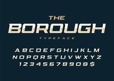 The Borough trendy retro display font design, alphabet, typeface. Letters and numbers, typography vector illustration