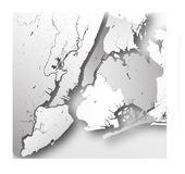 Boroughs of New York City - outline map. Royalty Free Stock Photography