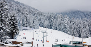 borovets保加利亚升降椅滑雪倾斜 库存图片