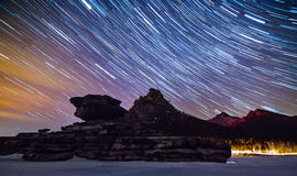 Borovoe and star trail. Royalty Free Stock Images