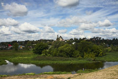 Borovsk city, river Protva. Borovsk town, view from the river Protva. Russia, Moscow region Stock Images
